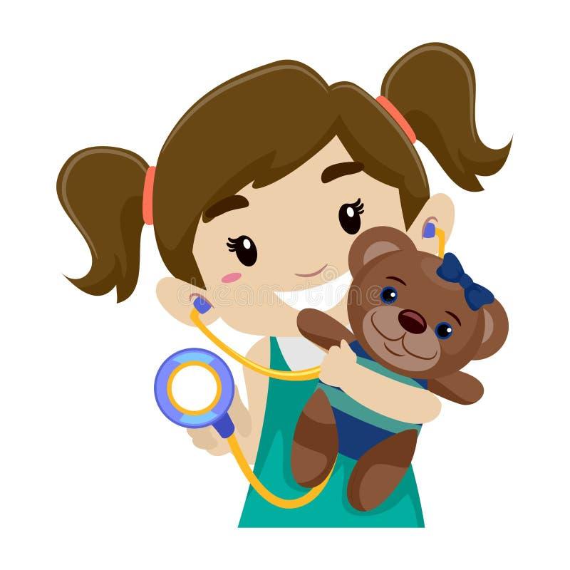 Spela stetoskopet, medan rymma en björn royaltyfri illustrationer