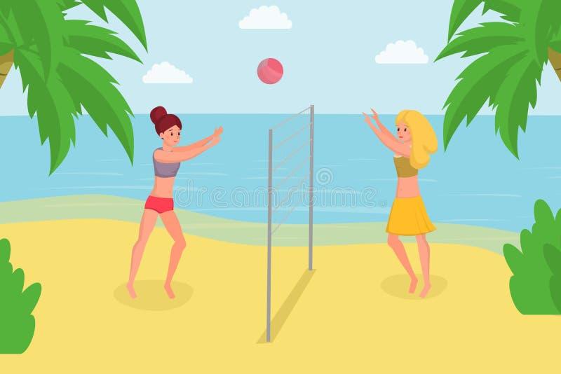 Spela strandvolleyboll på sommarferie Tycka om bollspelet med vännen på illustration för vektor för havkust plan vektor illustrationer