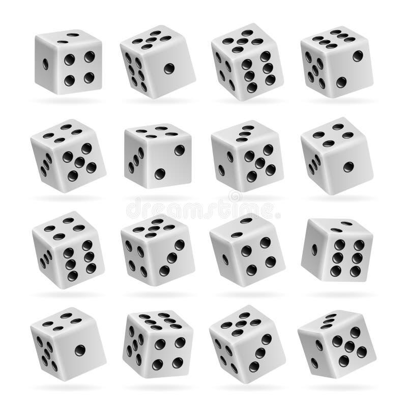 Spela tärningvektoruppsättningen realistiska kuber 3d med Dot Numbers Goda för att spela brädekasinoleken Isolerat på vit Uppsätt royaltyfri illustrationer