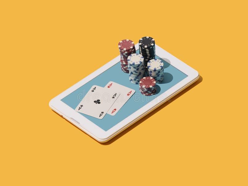 Spela Texas för att rymma dem pokeronline spel stock illustrationer