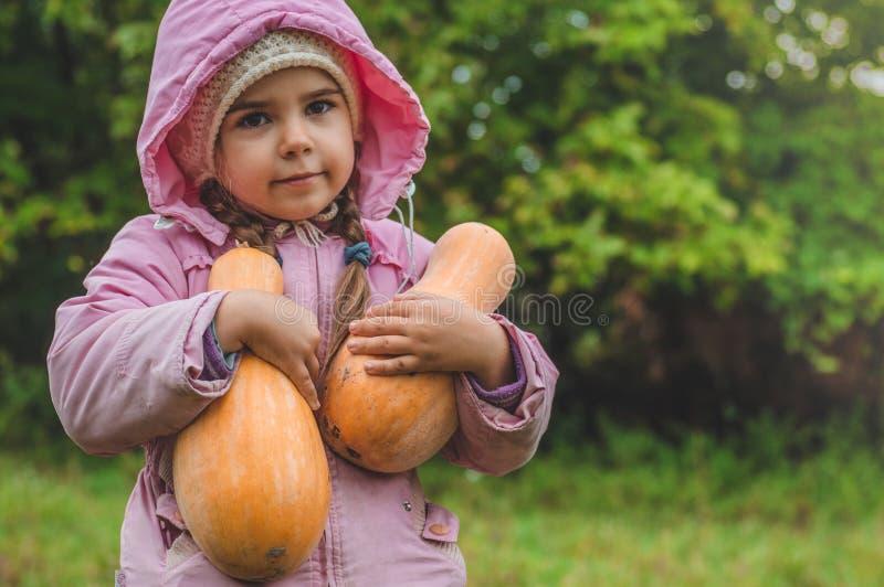 Spela utomhus den gulliga lilla flickan som rymmer en pumpa Skörd av pumpor, höst i trädgården, den älskvärda flickan och stora p royaltyfri fotografi