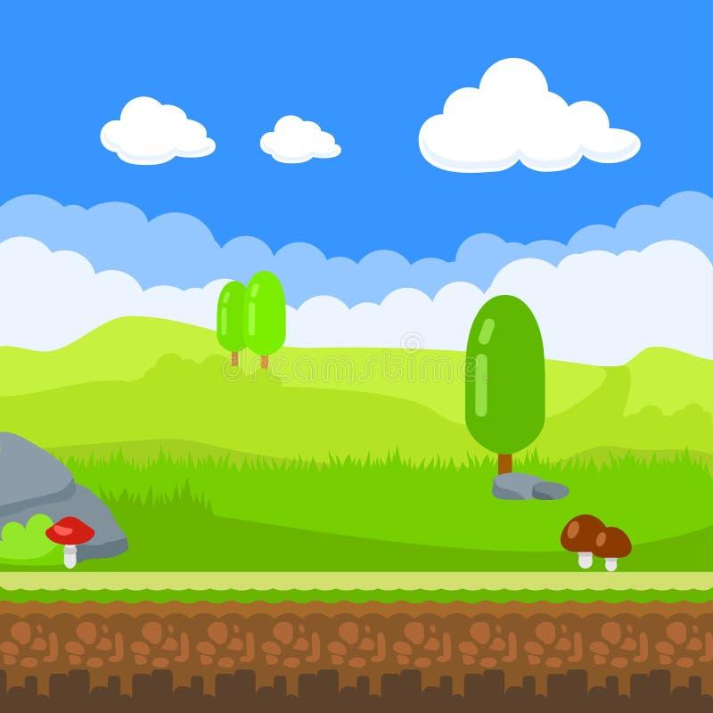 spelachtergrond Het landschap van de beeldverhaalaard, oneindige achtergrond met grond, stenen, bomen, paddestoelen en bewolkte h stock illustratie