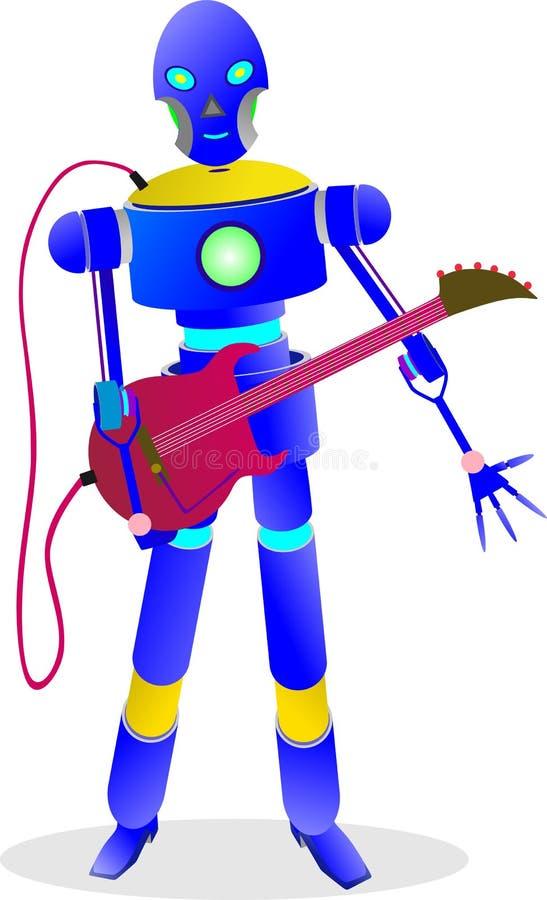 spelar den smarta roboten 234e gitarren för musik royaltyfria foton