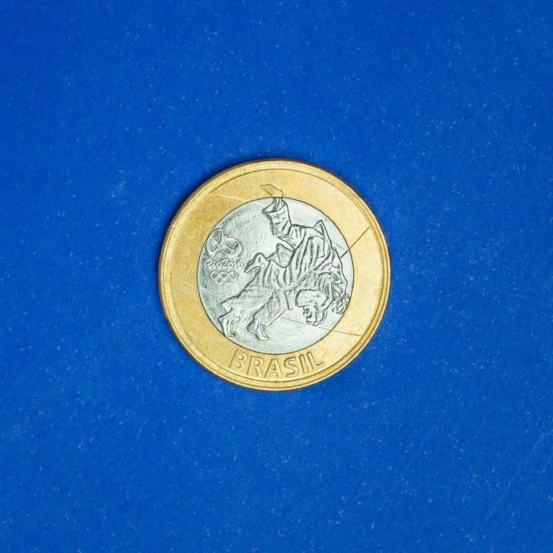 Spelar det brasilianska myntet för jubileums- ` för ` en verklig - judo - OS:er `-Rio de Janeiro2016 `, royaltyfria bilder