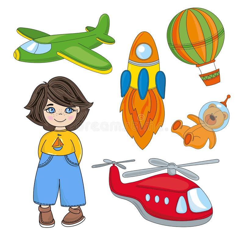 Spelar DRÖM- barn för POJKE uppsättningen för tecknad filmvektorillustrationen stock illustrationer