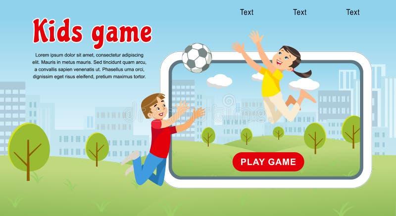 Spelar lyckliga ungar för vektorbegreppsbild fotbollbollen stock illustrationer