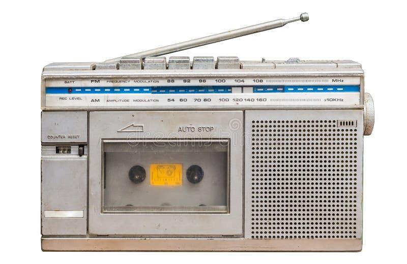 spelare för bärbar musik för 80-talradioband Vit bakgrund med Clipp arkivbild