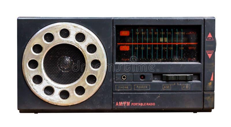 spelare för bärbar musik för 80-talradioband Vit bakgrund med Clipp royaltyfria bilder