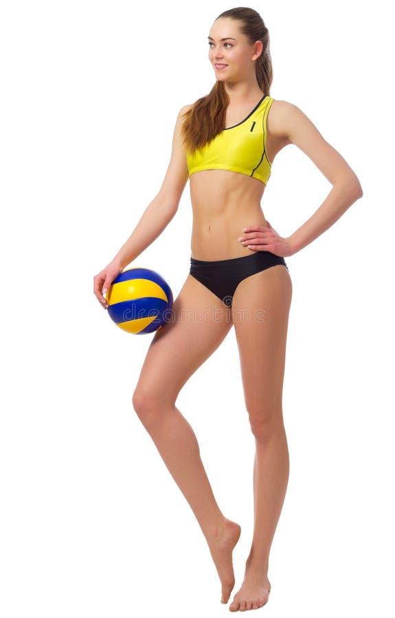 Spelare för ung flickastrandvolleyboll royaltyfria foton