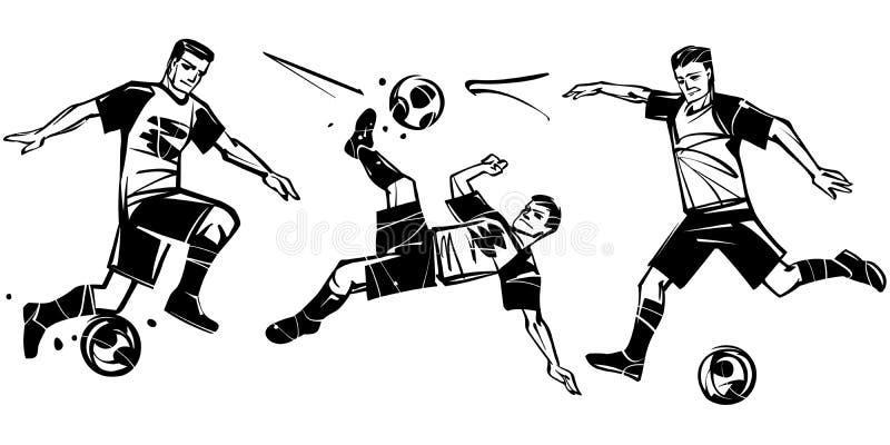 Spelare i fotboll Fotbollvektorillustration royaltyfri illustrationer