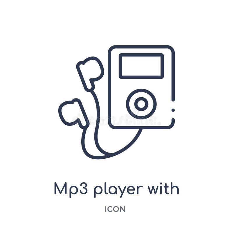 spelare mp3 med hörlurarsymbolen från musiköversiktssamling Tunn linje mp3-spelare med hörlurarsymbolen som isoleras på vit royaltyfri illustrationer