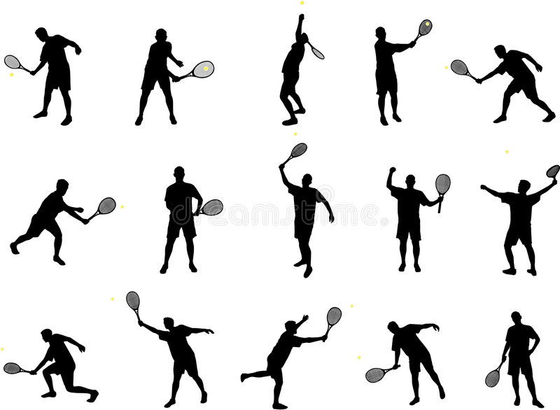spelare silhouettes tennis stock illustrationer