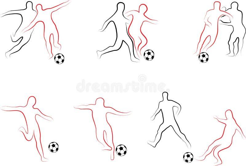Spelarefotbolluppsättning royaltyfri illustrationer