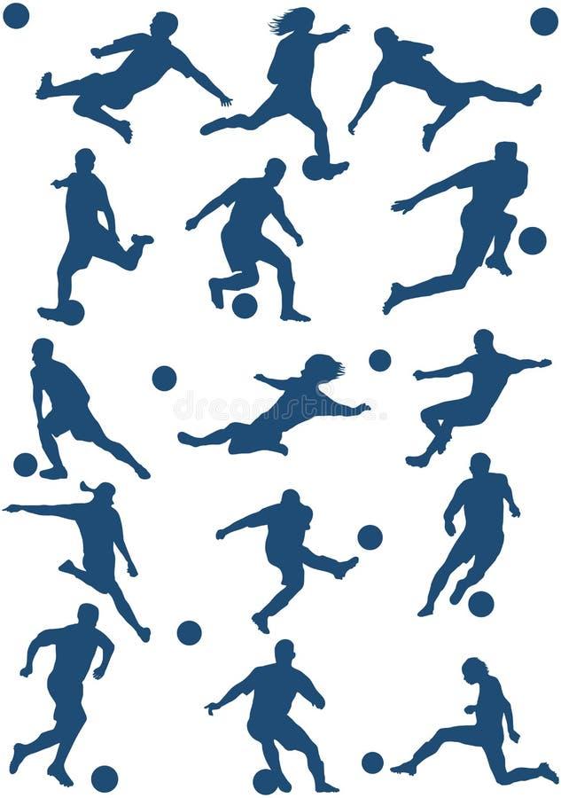 spelarefotbollvektor vektor illustrationer