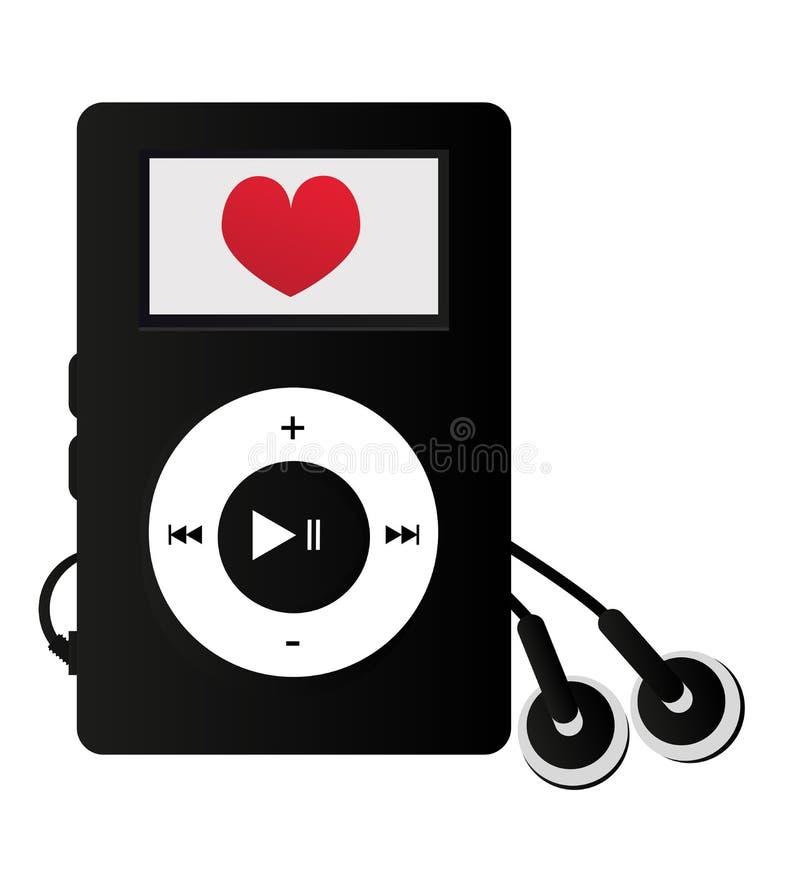 Spelaren Mp3 med hjärta - älska att lyssna till musik royaltyfri illustrationer