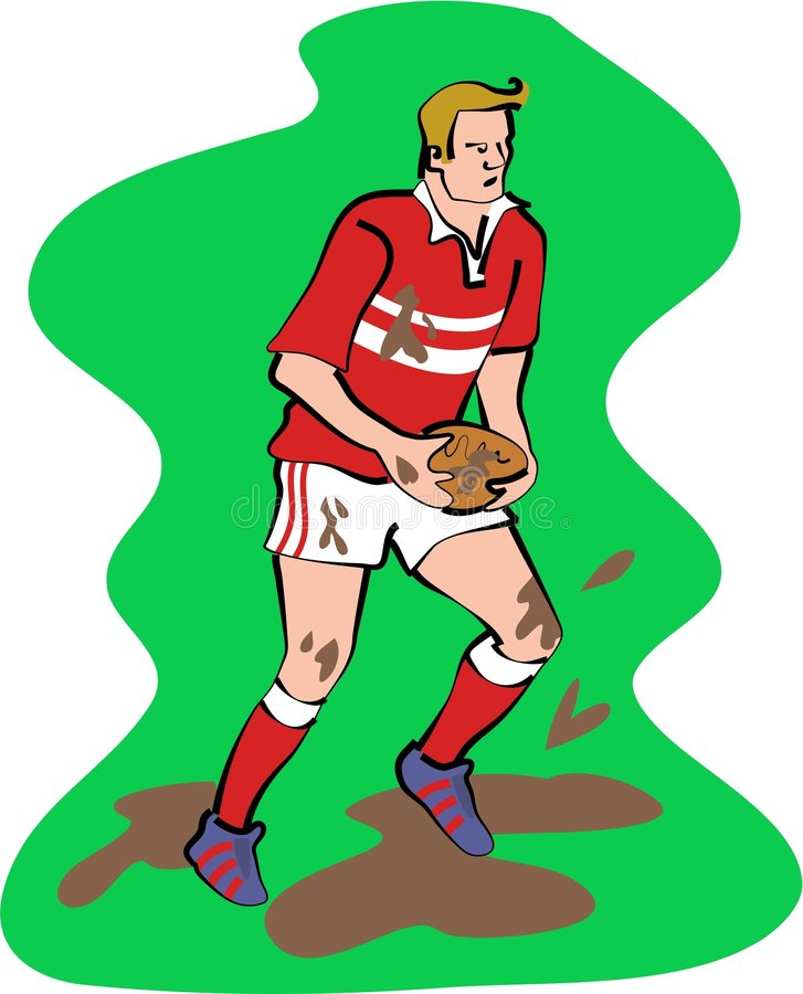 spelarerugby royaltyfri illustrationer
