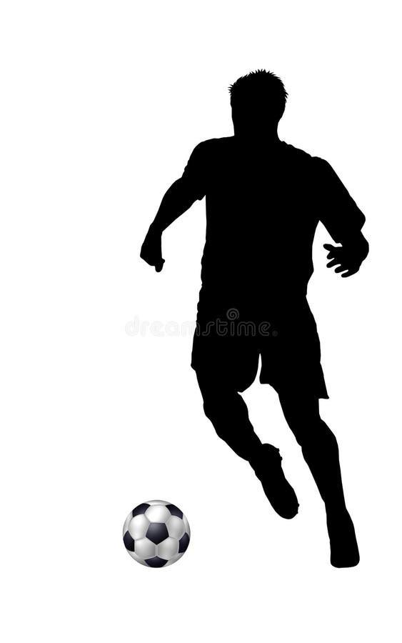 spelaresilhouettefotboll stock illustrationer