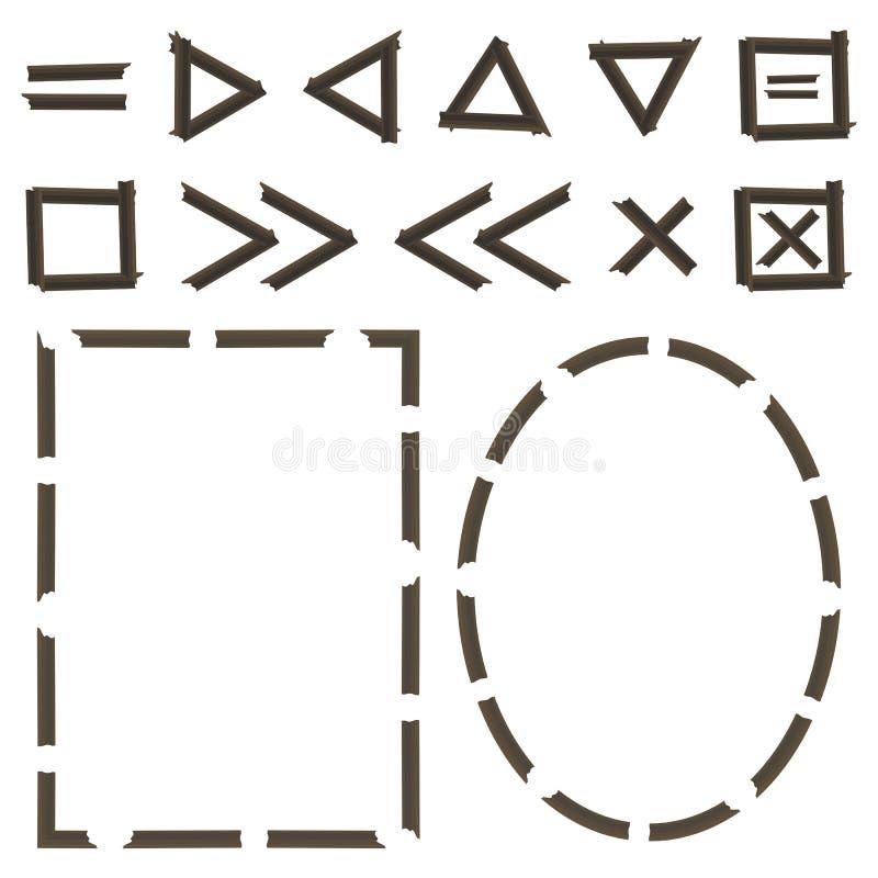 Spelaresymboler kvadrerar och inramar den träför vektorbeståndsdelar för journaler som mörka band prack uppsättningen för detalje stock illustrationer