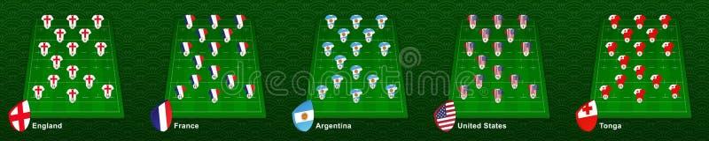 Spelarroll på rugbyfältet för det nationella landslaget England, Frankrike, Argentina, Förenta staterna, Tonga stock illustrationer