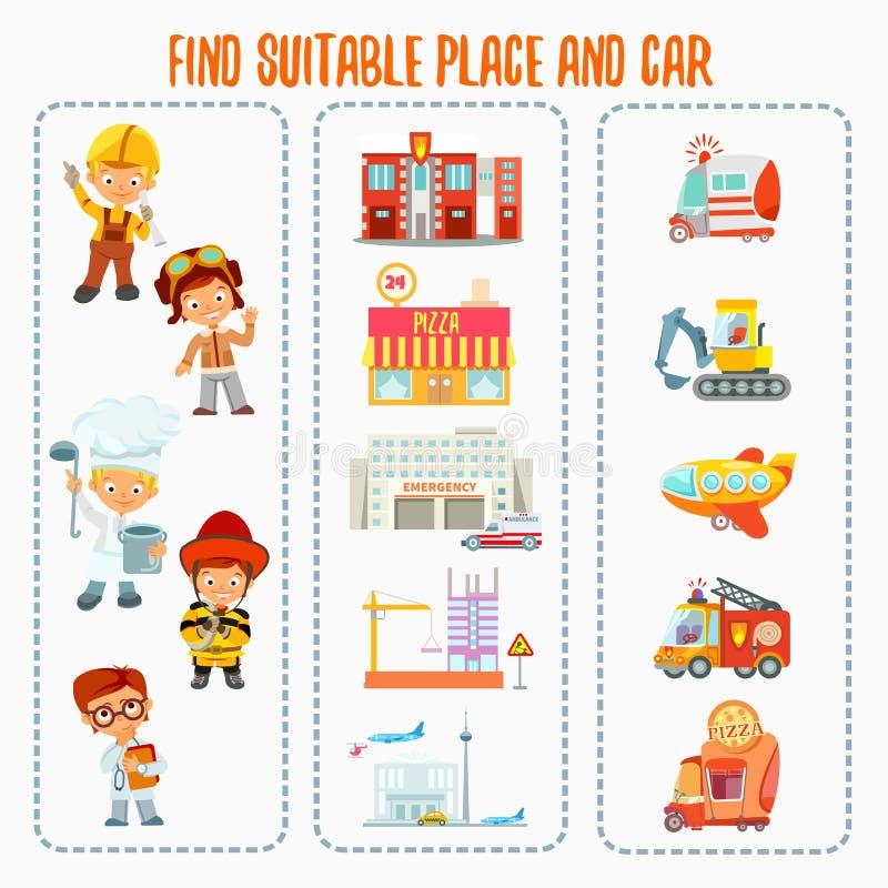 Spelconcept over het vinden van juiste werkplaats en auto voor diverse beroepen vector illustratie