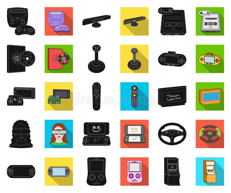 Spelconsole en virtuele werkelijkheids zwarte, vlakke pictogrammen in vastgestelde inzameling voor ontwerp Web van de het symbool royalty-vrije illustratie