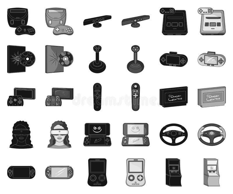 Spelconsole en virtuele werkelijkheids zwarte, zwart-wit pictogrammen in vastgestelde inzameling voor ontwerp Vector het symboolv stock illustratie
