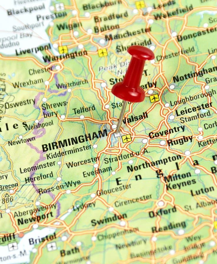 Speld op Birmingham wordt geplaatst dat stock afbeelding