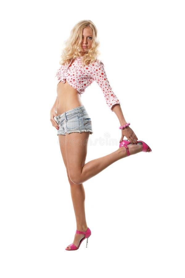 Speld-op blonde stock fotografie