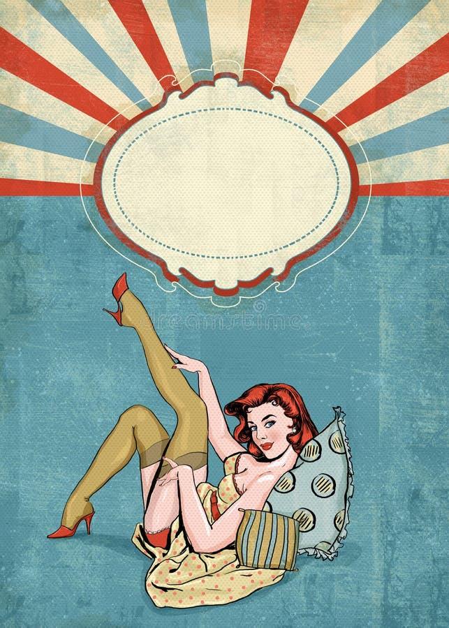 Speld op illustratie van vrouw met de plaats voor tekst Speld op Meisje Het uitstekende etiket van de theetijd De groetkaart van  royalty-vrije illustratie