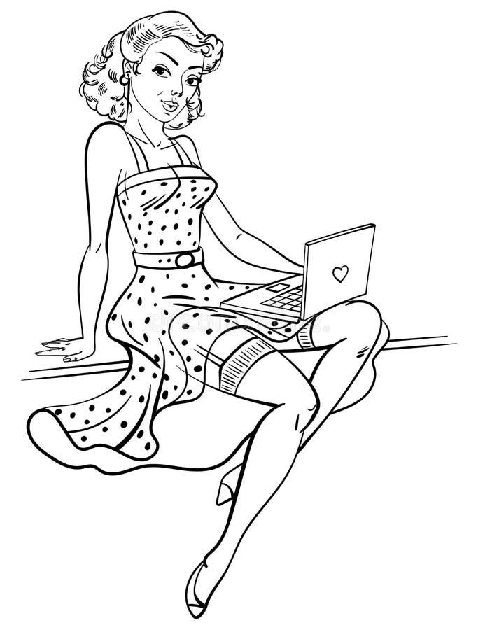 Speld-op meisje stock illustratie