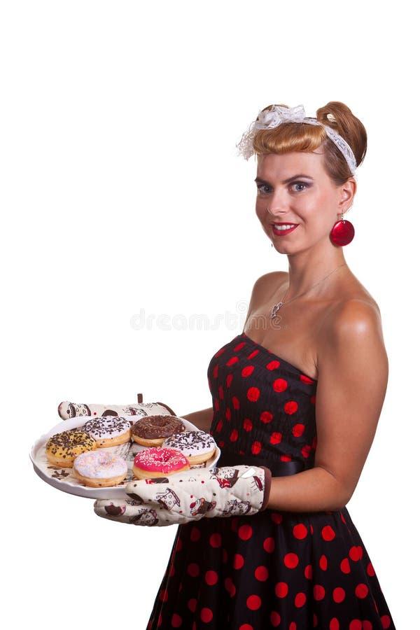 Speld-op Meisje met cakes royalty-vrije stock afbeeldingen