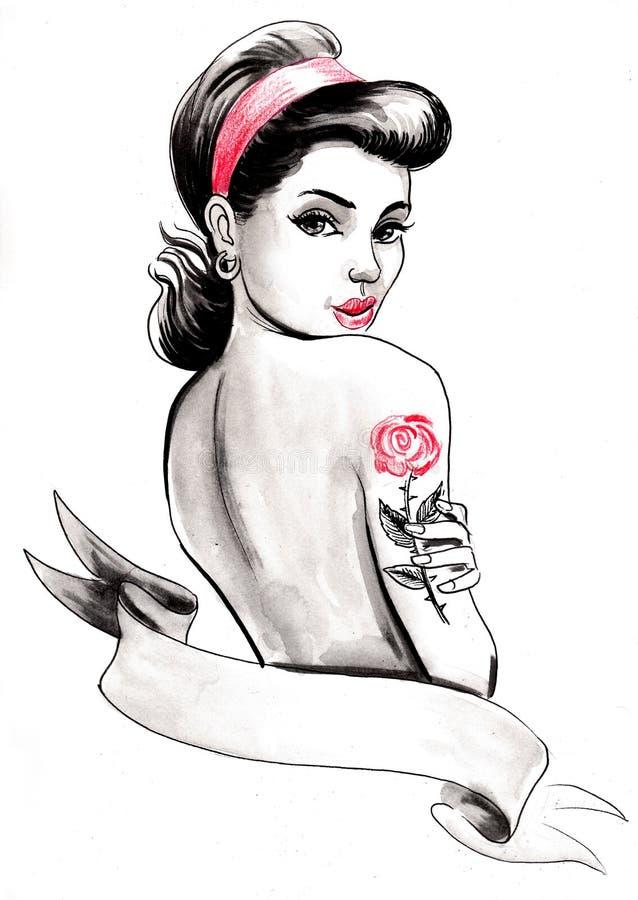 Speld op schoonheid met een tatoegering vector illustratie