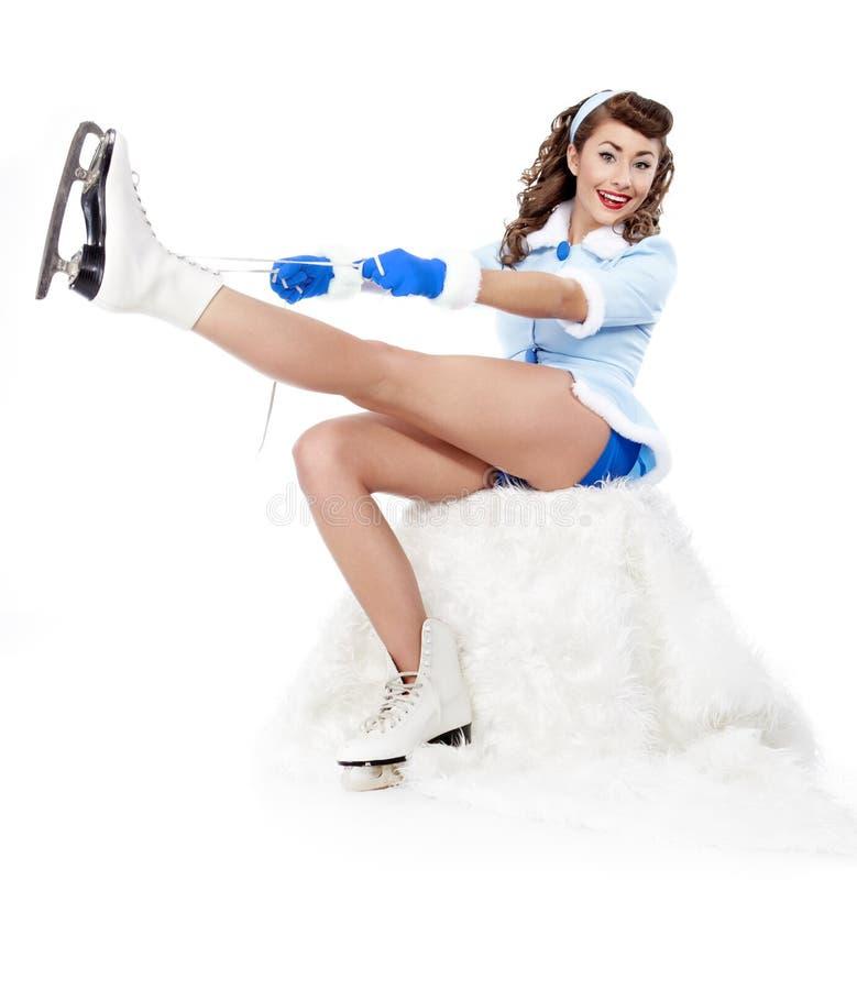 speld-op vrouw het gaan naar ijs het schaatsen stock afbeelding