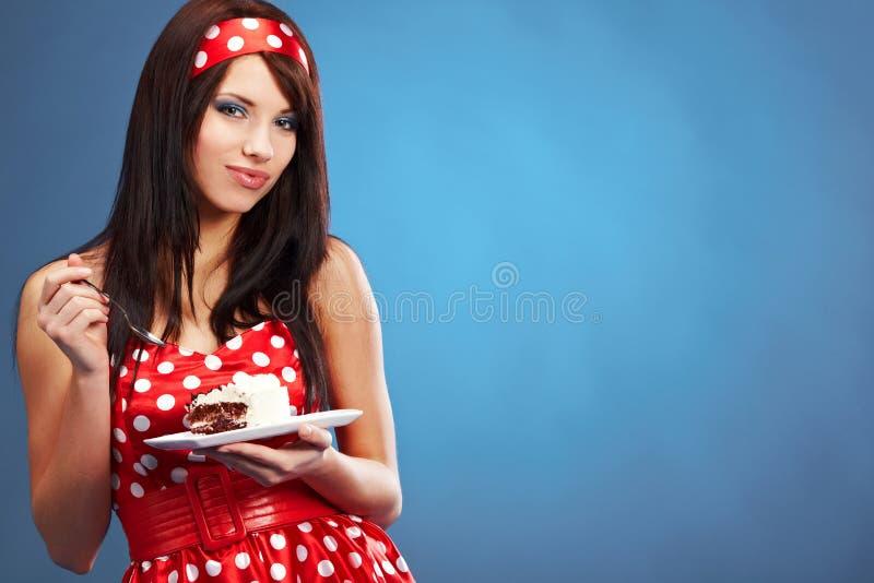 Speld-op vrouw met de cake stock fotografie