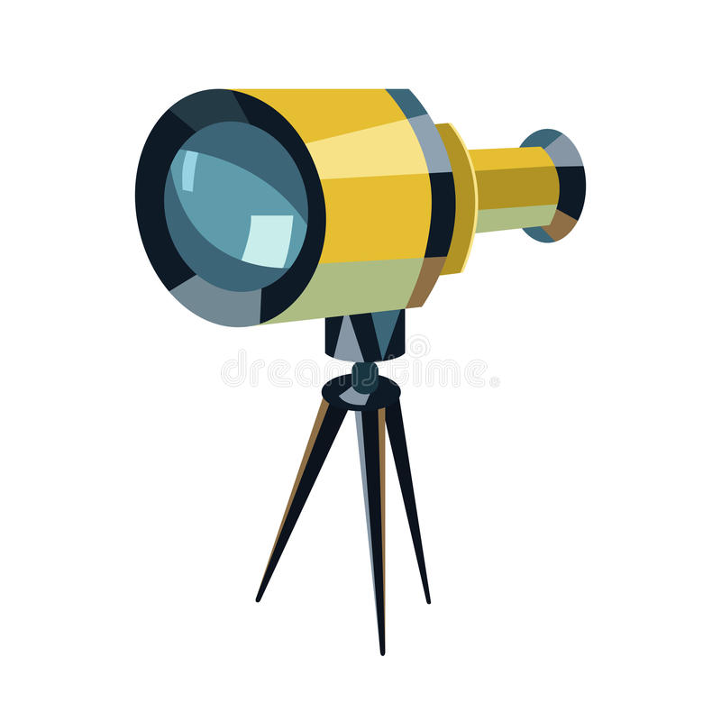 Spelen het telescoop vlakke pictogram, het Onderwijs en het astronomieelement, de kijker en de studie vectorgrafiek, een kleurrij royalty-vrije illustratie