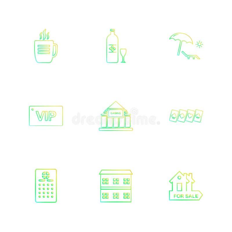 spelen, onroerende goederen sporten, picinic, eps pictogrammen geplaatst vector royalty-vrije illustratie