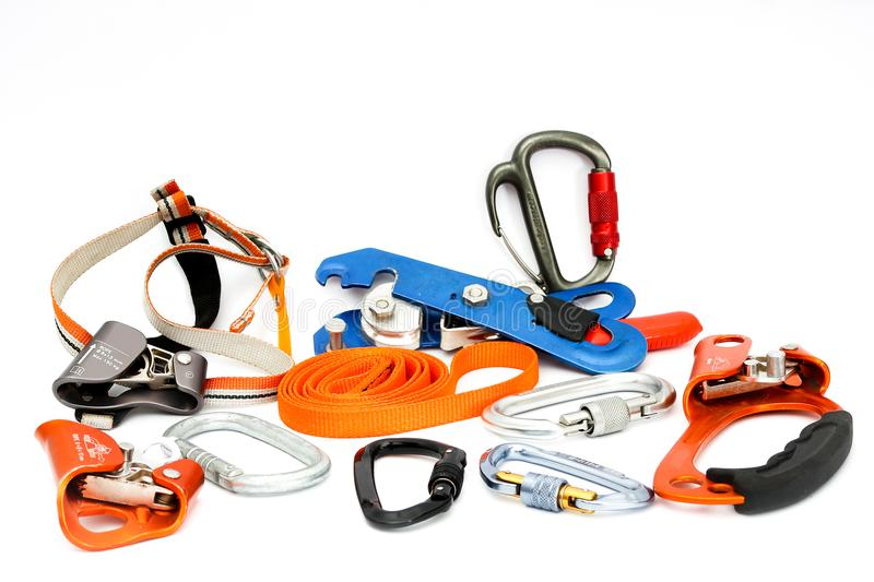 Speleology Climbing equipment. Climbing Set of Tools and devices used in caving stock photo