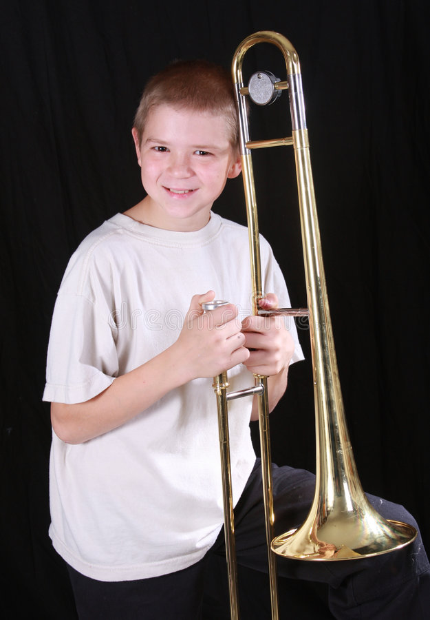 Speler 10 van de trombone stock foto