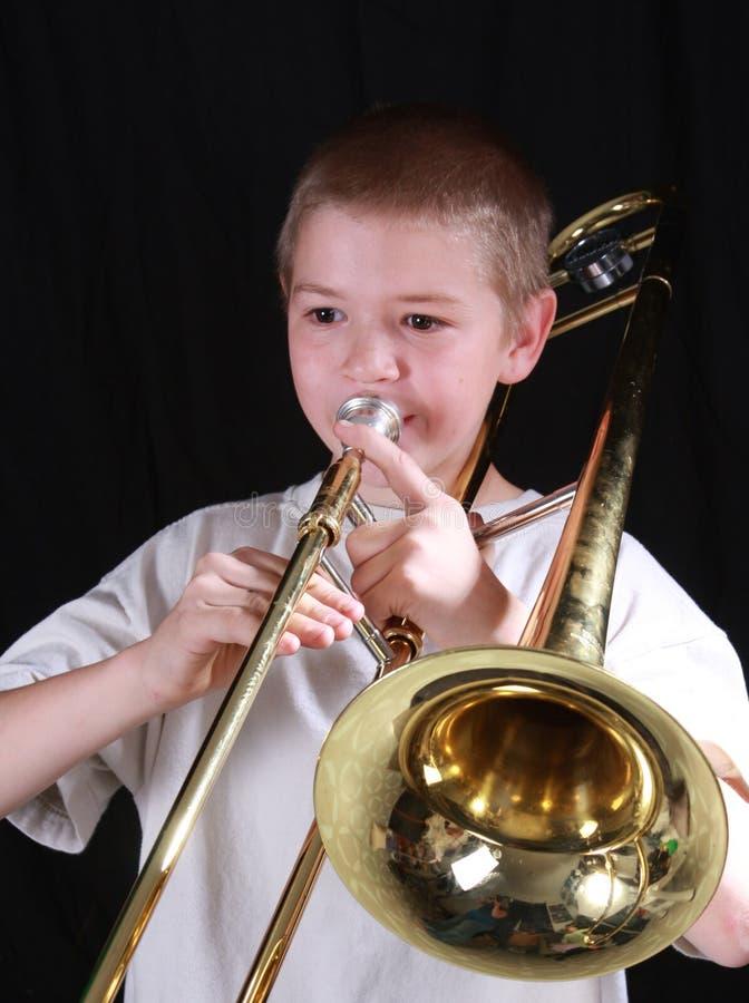 Speler 5 van de trombone stock fotografie