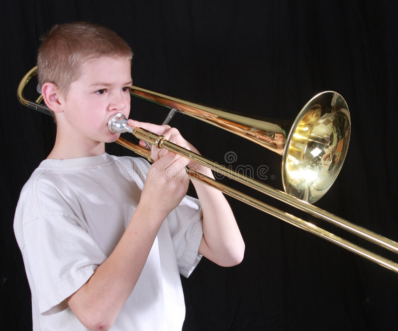 Speler 6 van de trombone stock foto