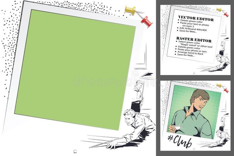 Speler in biljart Kader voor plakboek, banner, sticker, socia vector illustratie