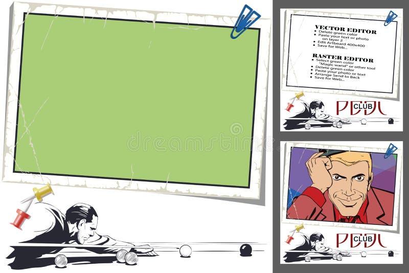 Speler in biljart Kader voor plakboek, banner, sticker, socia royalty-vrije illustratie