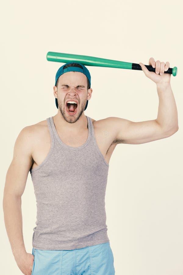 Speler met het lijden van aan gezicht klaar om honkbal te spelen stock fotografie
