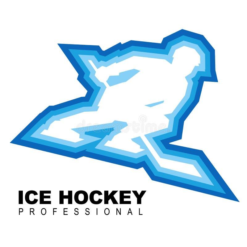 Speler met hockey-stok ritten snel op vleten royalty-vrije illustratie