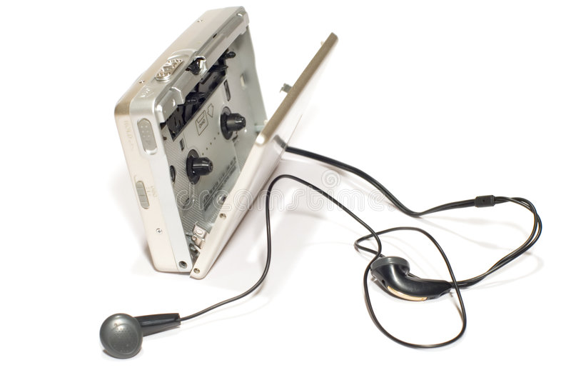 Speler met oortelefoons royalty-vrije stock afbeeldingen