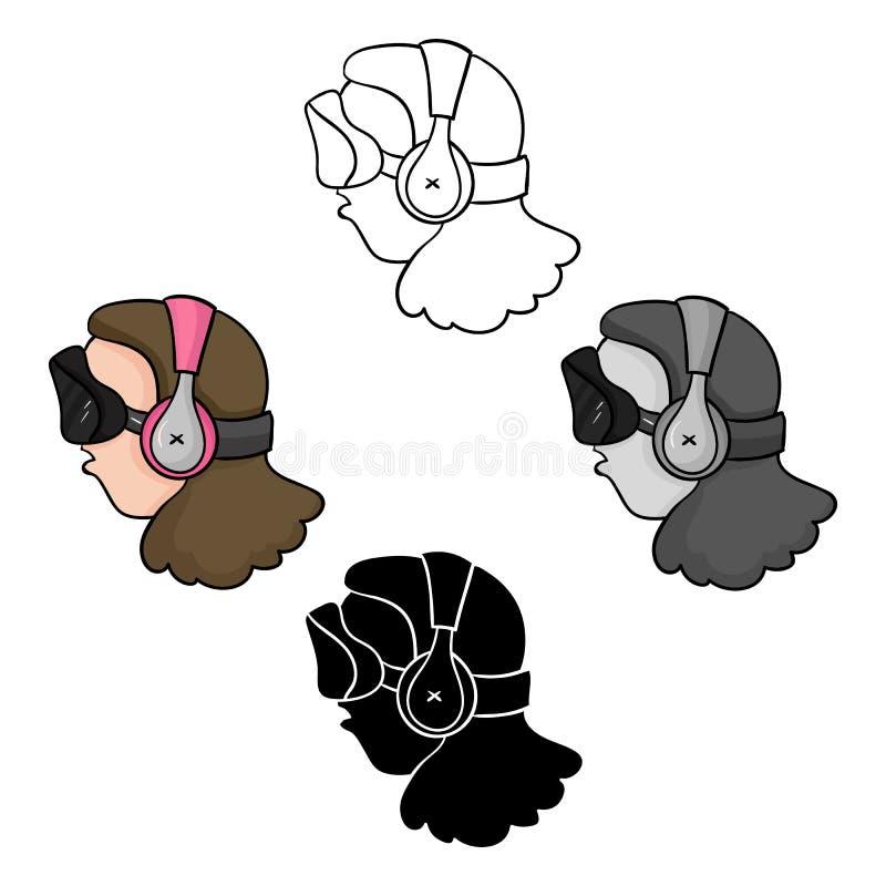 Speler met virtuele werkelijkheid headcartoon, zwart pictogram in beeldverhaal, zwarte die stijl op witte achtergrond wordt ge?so vector illustratie