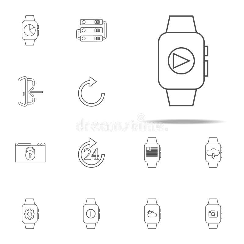 speler op een slim horlogepictogram voor Web wordt geplaatst dat en het mobiele algemene begrip van Webpictogrammen vector illustratie