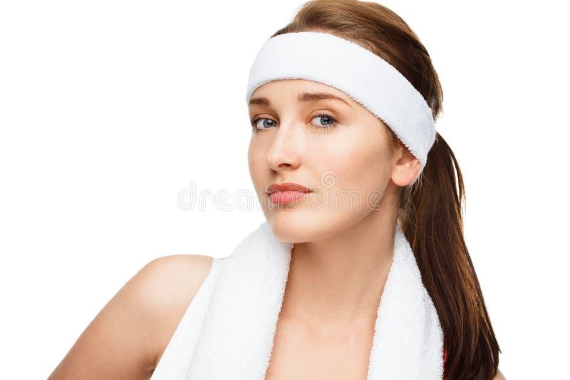 Speler van het de vrouwentennis van het close-upportret de gelukkige atletische royalty-vrije stock afbeelding