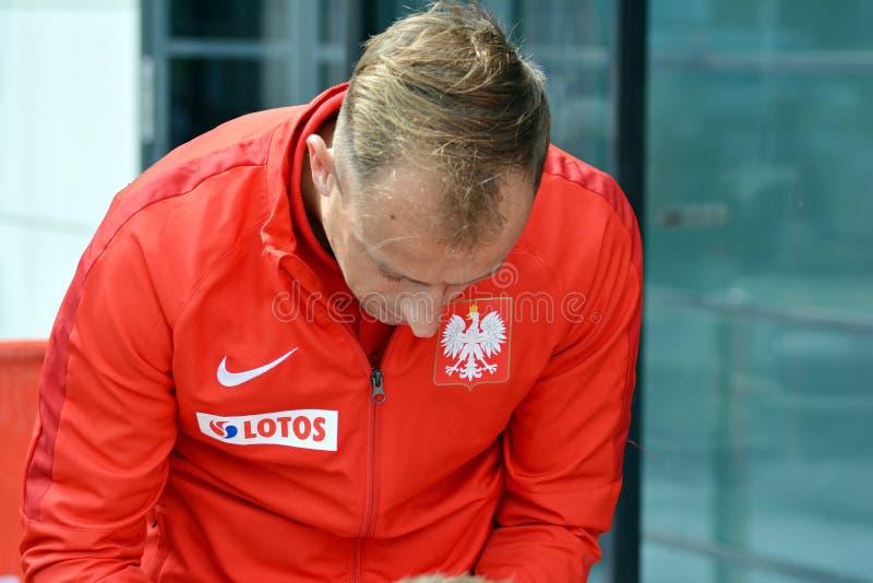 Speler van het Poolse nationale voetbalteam Kamil Grosicki stock foto