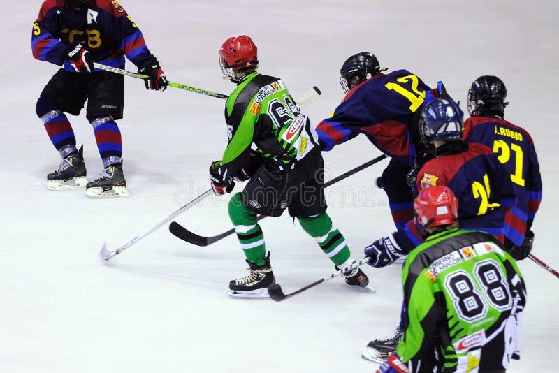 Spelers in actie in Ijshockeydef. van Copa del Rey (Spaanse Kop) stock afbeeldingen